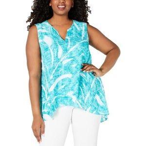 NWT Alfani Womens Plus Printed V Neck Tunic Top